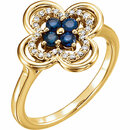 14 Karat Yellow Gold Blue Sapphire & 0.10 Carat Diamond Clover Ring