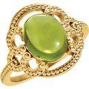 14 Karat Yellow Gold Peridot Granulated Design Ring