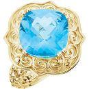 14 Karat Yellow Gold Swiss Blue Topaz Sculptural-Inspired Ring
