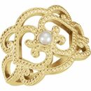 Natural Pearl Ring in 18 Karat Yellow Gold Granulated Cultured Seed Pearl Ring