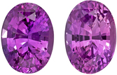 Fine Quality  2.19 carat Purple Sapphire Gemstone in Matched Pair in Oval Cut 7 x 5 mm