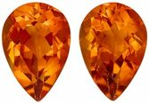 Bright & Lively Citrine Gemstone Matched Pair in Pear Cut, 2.51 carats, Rich Golden Orange, 9 x 6 mm