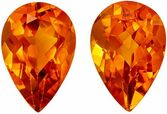 Excellent Citrine Gemstone Matched Pair in Pear Cut, 2.54 carats, Vivid Golden Orange, 9 x 6 mm