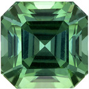 Vivid Color in 3.20 carat Minty Blue Green Tourmaline in Popular Asscher Cut, 7.8mm Size