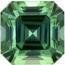 Vivid Color in 3.20 carat Minty Blue Green Tourmaline in Popular Asscher Cut, 7.8mm Size