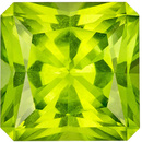 Quality Gem in 3.64 carat Green Peridot Gemstone in Radiant Cut 8.8 mm