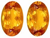 Faceted Citrine Gemstone Pair, 33.77 carats, Oval Cut, 22 x 14 mm, A Beauty of Gems