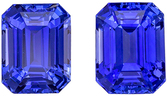 Super Sapphire Matched Pair, 4.86 carats, Vivid Rich Blue, Emerald Cut, 8 x 6mm