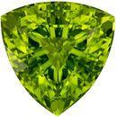 4.89 carats Peridot Loose Gemstone in Trillion Cut, Medium Lime Green, 10.7 mm