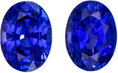 Eye Catching Sapphire Gem Pair, 5.42 carats, Medium Rich Blue, Oval Cut, 9.3 x 6.9mm