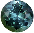 5.49 carats Blue Green Tourmaline Loose Gemstone in Round Cut, Medium Teal Blue, 11.2 mm