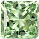 6.2 mm Green Tourmaline Genuine Gemstone in Radiant Cut, Light Mint Green, 1.33 carats