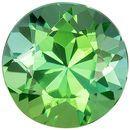 6.5 mm Green Tourmaline Genuine Gemstone in Round Cut, Minty Green Teal, 1.21 carats