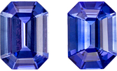 A Beautiful 1.75 carats Sapphire Genuine Gemstone Pair in Emerald Cut, Intense Blue, 6.9 x 5 mm