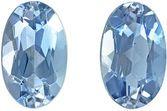 Beautiful Aquamarine Matching Gemstone Pair in Oval Cut, 0.47 carats, Pure Sky Blue, 5 x 3 mm