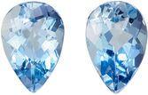Beautiful Aquamarine Matching Gemstone Pair in Pear Cut, 1.16 carats, Vivid Sky Blue, 7 x 5 mm