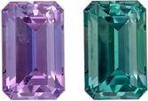 Must See Loose Alexandrite Gemstone in Emerald Cut, 0.31 carats, Vivid Teal to Medium Eggplant, 4.5 x 2.9 mm