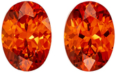 Beautiful  Matched Spessartite Pair in Oval Cut, 7 x 5 mm in Gorgeous Vivid Rich Orange, 2.15 carats