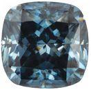 Blue Color Moissanite Cushion Cut