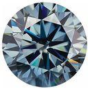Blue Color Moissanite Round Cut