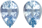 Fiery Aquamarine Matching Gemstone Pair in Pear Cut, 1.76 carats, Medium Pure Blue, 8.1 x 5.4 mm