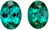Fiery Blue Green Tourmaline Matching Gemstone Pair in Oval Cut, 1.59 carats, Teal Blue Green, 6.9 x 5 mm