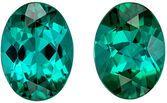 Fiery Blue Green Tourmaline Matching Gemstone Pair in Oval Cut, 1.59 carats, Teal Blue Green, 6.9 x 5 mm