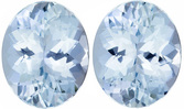 Brilliant Aquamarine Matching Gemstone Pair in Oval Cut, 6.64 carats, Intense Medium Blue, 11 x 9 mm