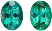 Calibrated Size Blue Green Tourmaline Matching Gemstone Pair in Oval Cut, 1.72 carats, Vivid Teal Blue Green, 7 x 5.1 mm