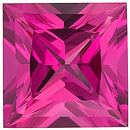 Chatham Lab Pink Sapphire Princess Cut in Grade GEM