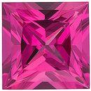 Chatham Lab Pink Sapphire Princess Cut in Grade GEM