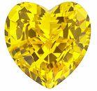 Chatham Lab Yellow Sapphire Heart Cut in Grade GEM