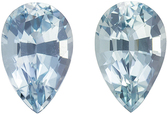 Low Price Aquamarine Matching Gemstone Pair in Pear Cut, 3.33 carats, Vivid Rich Blue, 9.8 x 6.4 mm