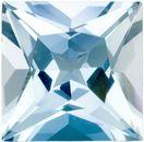 Clean & Bright Aquamarine Genuine Loose Gemstone in Princess Cut, 3.79 carats, Medium Blue, 9.9 mm