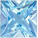 Dazzling Aquamarine Genuine Loose Gemstone in Princess Cut, 8.44 carats, Vivid Sky Blue, 12 mm