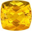 Desirable Genuine Yellow Beryl Gem in Cushion Cut, 11.9 x 11.7 mm in Gorgeous Medium Golden Yellow, 7.79 carats