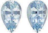 Elegant & Trendy Aquamarine Matching Gemstone Pair in Pear Cut, 3.24 carats, Rich Sky Blue, 10.2 x 6.4 mm