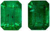 Excellent Emerald Well Matched Gemstone Pair, Vivid Rich Green, Emerald Cut, 7.1 x 5 mm, 2.37 carats
