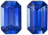 Excellent  Matched Blue Sapphire Pair in Emerald Cut, 5 x 3 mm in Gorgeous Medium Rich Blue, 0.6 carats