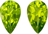 Excellent  Matched Peridot Pair in Pear Cut, 8 x 5 mm in Gorgeous Lime Green, 1.66 carats