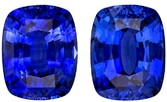 Truly Stunning  Blue Sapphire Genuine Gemstone, 6.24 carats, Cushion Shape, 9.44 x 7.43 x 4.82 mm Matching Pair with GIA Certificate