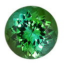 Faceted Blue Green Tourmaline Gemstone, Round Cut, 5.62 carats, 11 mm , AfricaGems Certified - A Low Price