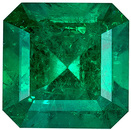 Faceted Emerald Gem in Emerald Cut, 6.1 x 6.1 mm in Gorgeous Vivid Rich Green, 1 carats