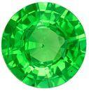 Faceted Tsavorite Green Garnet Gemstone, 1.31 Carats, Round Shape, 6.9 mm, Fine Grass Green Color