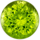 Faceted Peridot Gem in Round Cut, 6.5 mm in Gorgeous Medium Lime Green, 1.19 carats