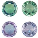 Faceted Pair of Alexandrite Gemstones, 0.52 Carats, Round Shape, 4 mm, Stunning Total Color Change Color