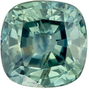 Fiery GenuineFaceted Blue Green Sapphire Gem in Cushion Cut, 6.1 mm in Gorgeous Tealish Green, 1.47 carats