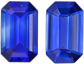 Fiery  Matched Blue Sapphire Pair in Emerald Cut, 5 x 3 mm in Gorgeous Vivid Rich Blue, 0.58 carats