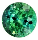 Fine Loose 4.72 carats Tourmaline Genuine Gemstone in Round Cut, Blue Green, 10.4 mm
