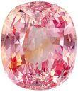Fine Loose 7.9 x 6.7 mm Sapphire Loose Gemstone in Cushion Cut, Orange Pink, 2.18 carats